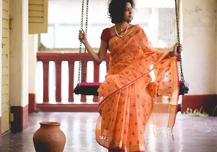 Cotton Sarees - Orange Kota With Pink Thread Work Flowers By Suta - PC - 15737 - Main
