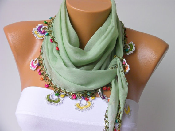 Turkish oya scarfhand crocheted  lace scarf/ ethnik / by SenaShop, $22.90