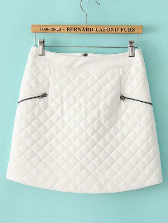 White Plaid Zipper Leather Skirt