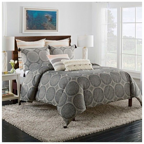 Cupcakes And Cashmere Dotted Medallion Duvet Cover ($170) ❤ liked on Polyvore featuring home, bed & bath, bedding, duvet covers, grey, polka dot bedding, grey polka dot bedding, contemporary bedding, gray polka dot bedding and cotton bedding