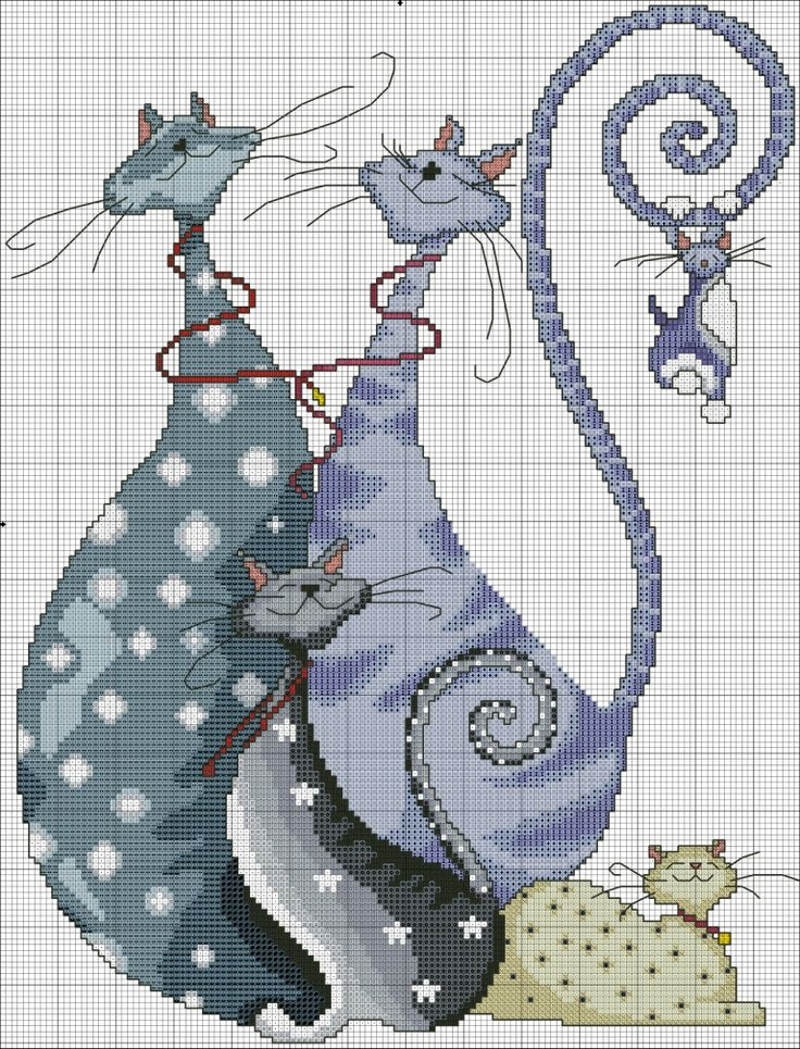 ♥ Modern Cat Family Free Cross Stitch Pattern Chart