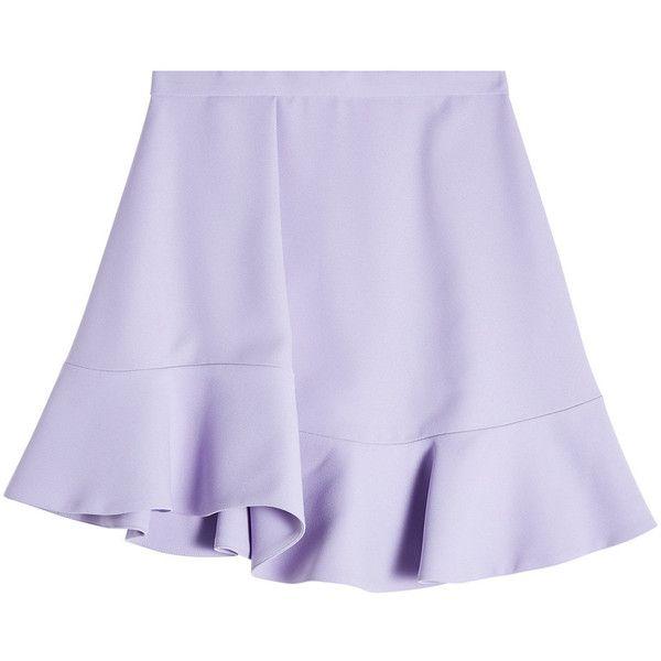 Carven Flutter Hem Mini Skirt (4.382.180 IDR) ❤ liked on Polyvore featuring skirts, mini skirts, purple, flouncy skirt, foldover skirts, frilly skirt, ruffled skirt and frill skirt