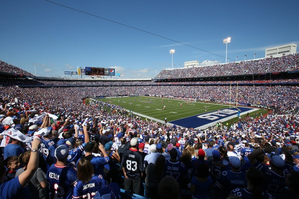 A general view of Ralph Wilson Stadium at the opening kickoff during the Kansas City Chiefs NFL game against the Buffalo Bills at Ralph Wilson Stadium on September 16, 2012 in Orchard Park, New York.