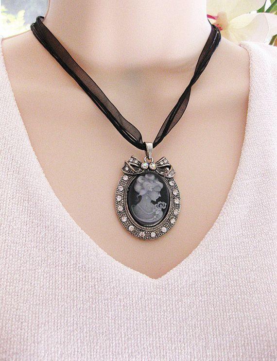 Cameo Necklace Cameo Jewelry Victorian Cameo by RalstonOriginals