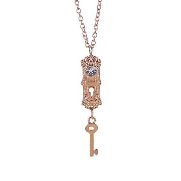 Colares colar Alice no país das maravilhas colar pingente chave de ouro em Colares com pingente de Jóias no AliExpress.com | Alibaba Group