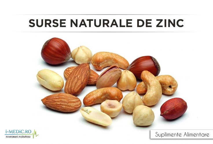 Zincul este de cele mai multe ori asociat cu alimentele bogate in proteine, dintre acestea amintind carnea de vita, miel, porc, pui, curcan, homar, somon si moluste comestibile. In cazul persoanelor vegetariene, cantitatea de zinc extrasa din alimentatie va fi cel mai probabil mai mica, in comparatie cu cea a persoanelor ce consuma carne.  http://www.i-medic.ro/diete/suplimente/surse-naturale-de-zinc