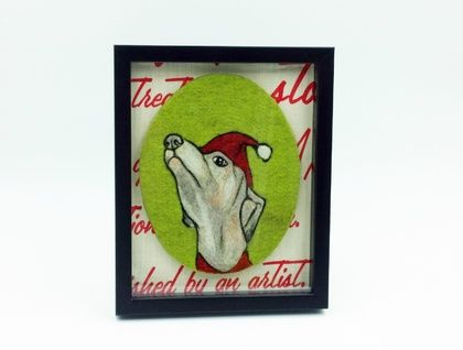 Christmas Greyhound Dog - Original Framed Fibre Art - NZ Made
