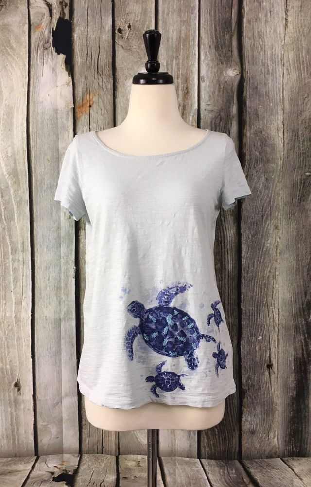 J. Jill XS Top Beach Tee Collection Light Blue Turtle Graphic Beaded Embellished #JJill #KnitTop #Casual