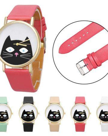 clock-watch-white-black-cat-cheap-φθηνό-ρολόι-fashion-woman