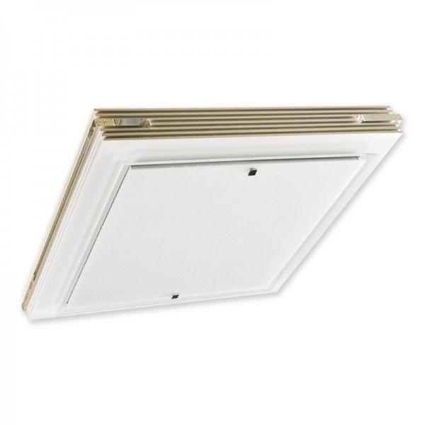 Plafon Crisline, quadrado para 2 lâmpadas,  Medidas: 50x50cm,  Material: MDF e acrílico,  Cor: Branco