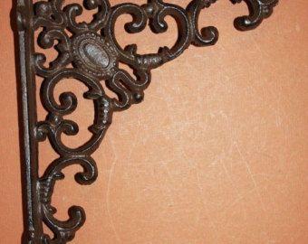"4)pcs, decorative shelf brackets free shipping, 8"" medium size shelf brackets, vintage-look cast iron shelf brackets, corbels, B-29"