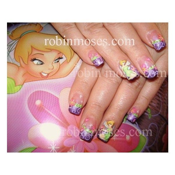 Tinkerbell Nails: Tinkerbell Nail Art Gallery Liked On Polyvore Featuring