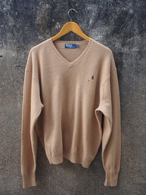 dea75c969 Vintage 80 s POLO Ralph Lauren Knit Jumper Women Xlarge Streetwear Pullover  Sweatshirt V Neck Brown