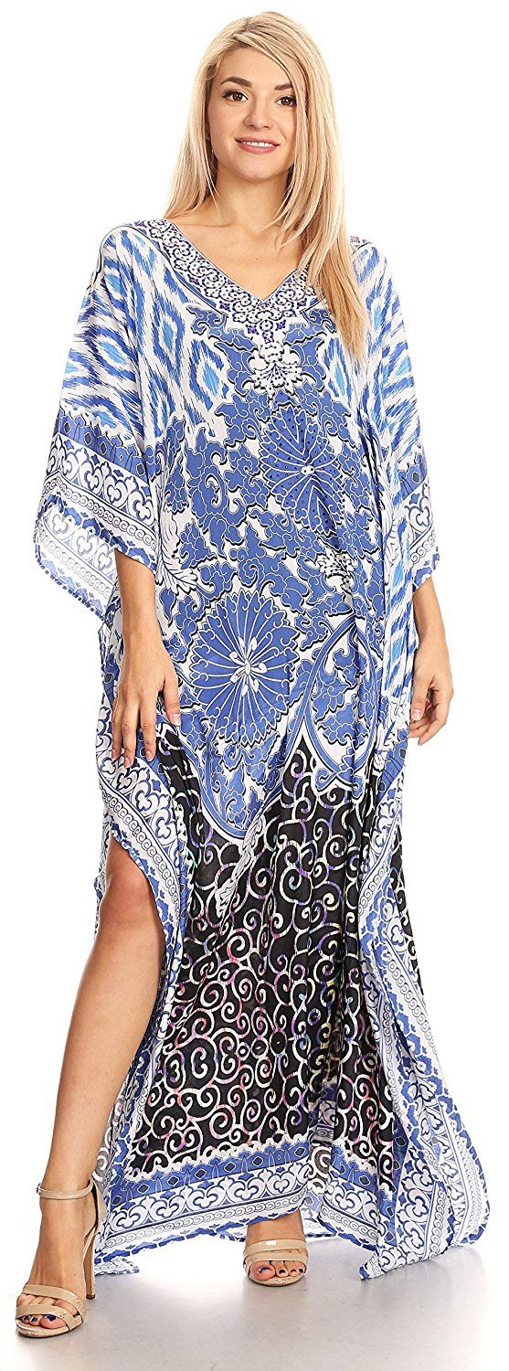 This caftan dress cover up is made of a lightweight material with  no structure so that it drapes effortlessly and elegantly. It is very  forgiving and loose fitting for maximum comfort and best wear. Colors  are very vibrant and unique. Each dress is handmade and timeless.