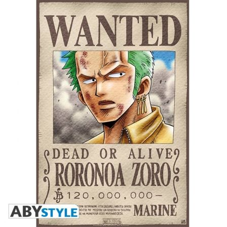 ONE PIECE Poster One Piece Wanted Zoro (52X35)