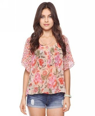 23c045aaba2a90 Forever 21 Contrast Floral Blouse - ShopStyle Shortsleeve