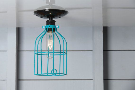 Industrial Ceiling Light  Turquoise Blue Wire Cage by IndLights, $50.00