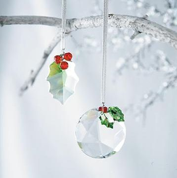 Austrian Crystal Christmas ornaments...   I LOVE the holly and berries  !!!