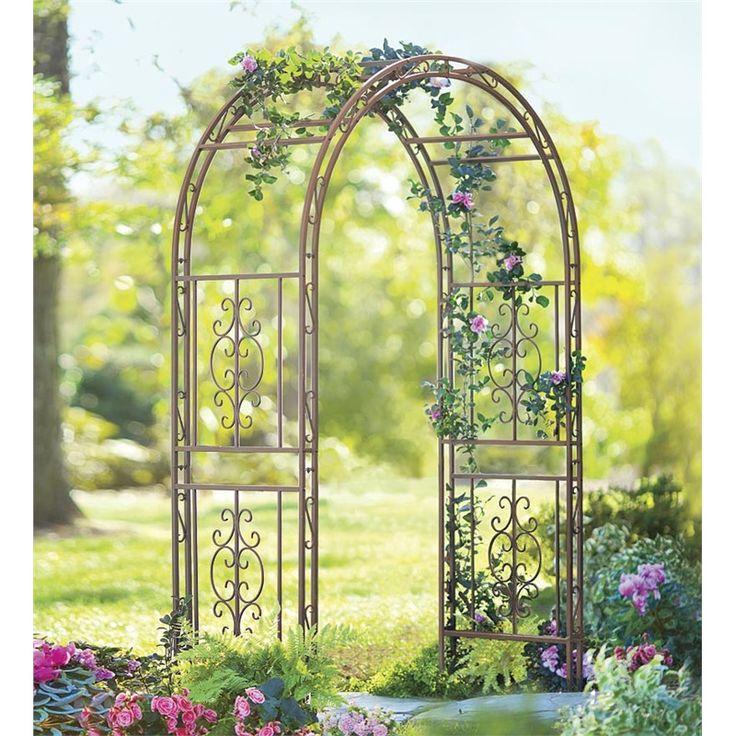 Ornamental Metal Round Top Garden Planter Arch: Iron Montebello Arbor With Gate