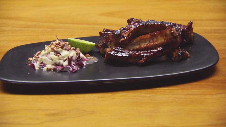 Sticky Ribs with Coleslaw and Spiced Cashews