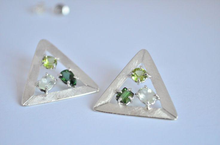 Orecchini tormalina verde,orecchini argento 925,orecchini peridot,orecchino…