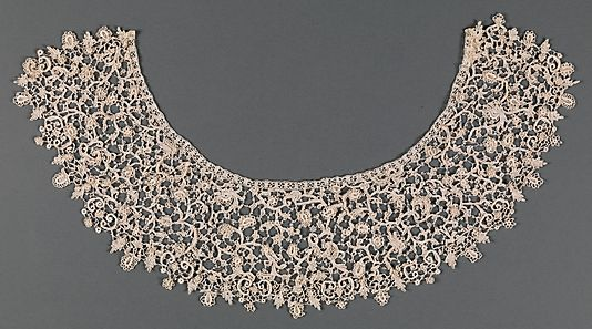 Collar, late 17th and late 19th century elements. Italian. The Metropolitan Museum of Art, New York. The Nuttall Collection, Gift of Mrs. Magdalena Nuttall, 1908 (08.180.701)    The name point de neige refers to the resemblance of the delicate buttonholed loops and projecting picots to snowflakes (neige being the French word for snow). #snow