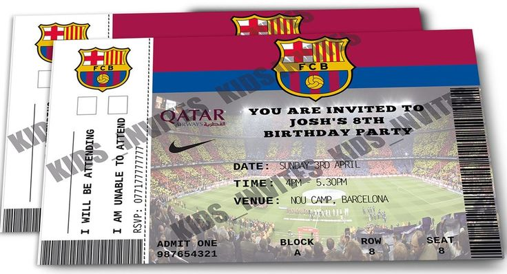 Personalised Barcelona Football Birthday Party Invitations / Ticket Design
