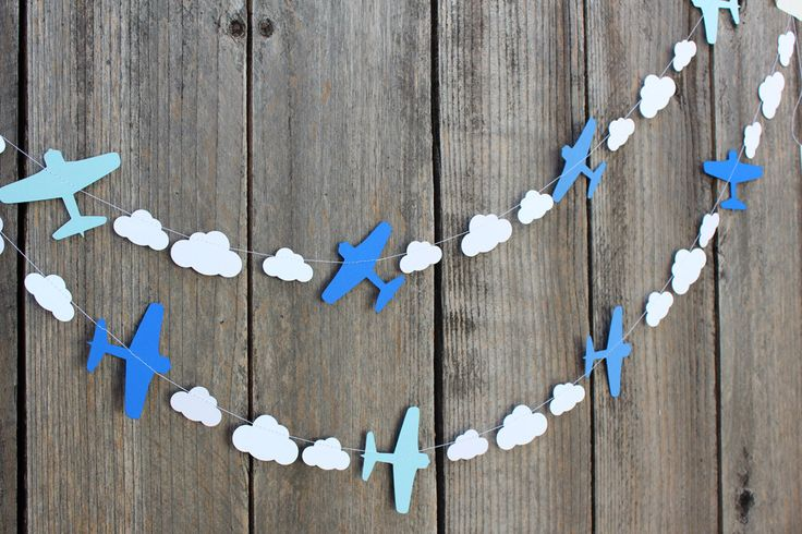 Airplane and clouds paper Garland - custom colors available - great for Disney Planes party, Aviation themes by 1PixiePlace on Etsy https://www.etsy.com/listing/201966471/airplane-and-clouds-paper-garland-custom