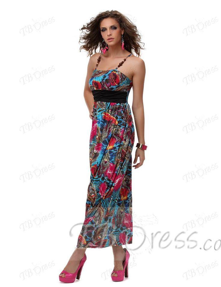 Graceful Square Neck Wing Print Strap Maxi Dress-Blue