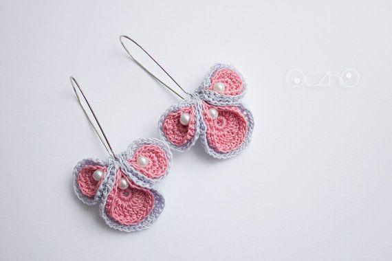 Baski II Crochet earrings, flower earrings, pink and grey, glass beads