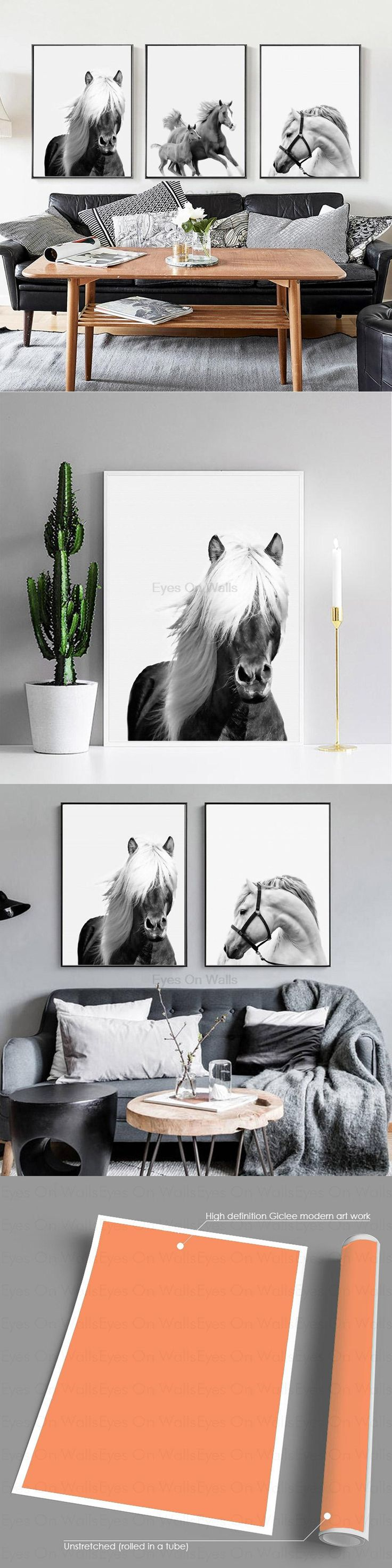 No Frame 3 Pieces black white Horse Poster Scandinavian Canvas Painting For Living Room Wall Picture Print Nordic Art Home Decor