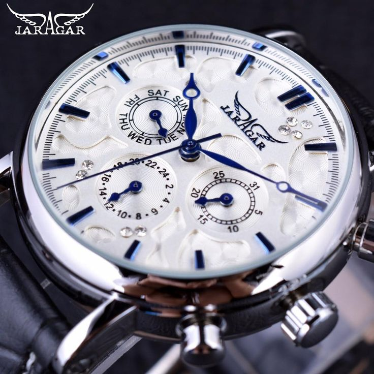 Jaragar Blue Sky Series Elegant Design Mens Watch  Jaragar stands for Affordable Luxury. The most affordable and extremely stylish, top-of-the-line men's watch with fully functioning chronometer small dials and pushers. MensWatchSales.com