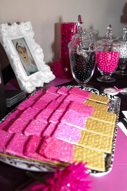 dipped graham crackers covered in white chocolate and pink sanding sugar for baby shower or even bridal shower