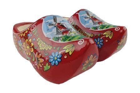 "Wooden Shoe Clogs Dutch Windmill Red Design-7"""