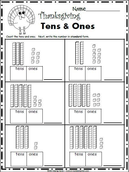 Free November Math Worksheets for Kindergarten - Base 10 ...
