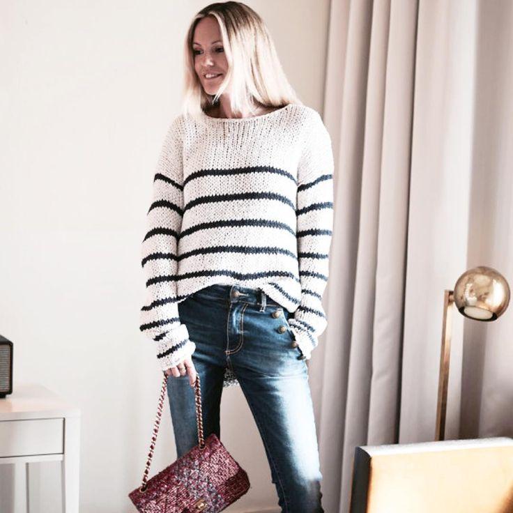 Fashion Editor Sofi Farhman wearing #Hunkydory Pablo knit (http://www.hunkydory.com/en/shop-by-category/knitwear/pablo-knit) and Corona Denim (http://www.hunkydory.com/en/shop-by-category/trousers/corona-denim)