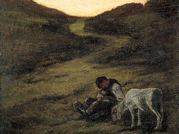 Giovanni Segantini (1858-1899) - Il pastore addormentato - 1882 -  Collezione Privata   Courtesy of Museo Archeologico Regionale e Studio Esseci