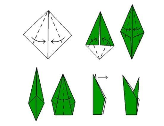 Tulipán de origami paso a paso