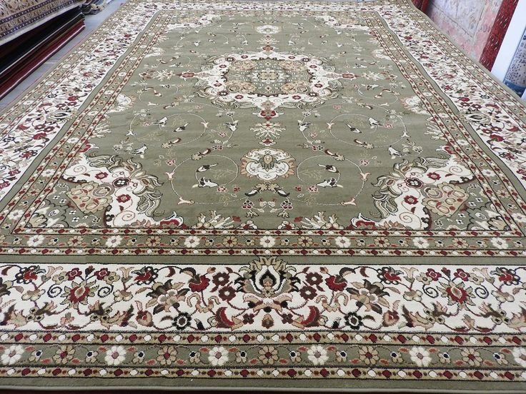 Classic Olive Green Design Turkish Rug Size: 280 x 380cm