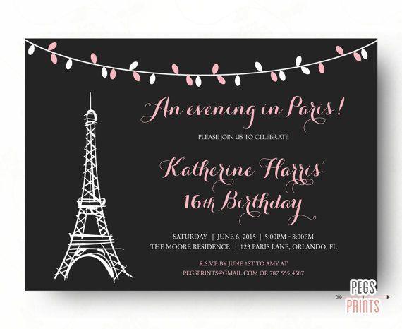 Paris Sweet 16 Birthday Invitations (Printable) Paris Theme Birthday Party Invitation - An Evening in Paris Invite - Pink Parisian Birthday