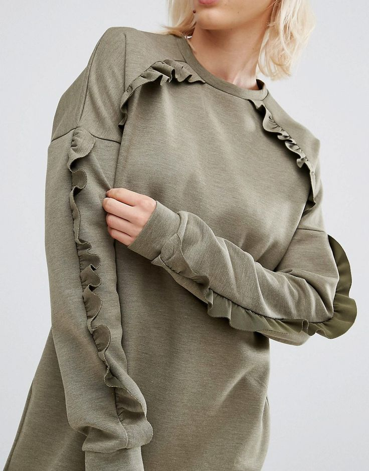 Image 3 ofASOS Sweat Dress with Frill Detail