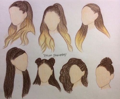 Ariana Grande inspired hairstyle drawings ❤️