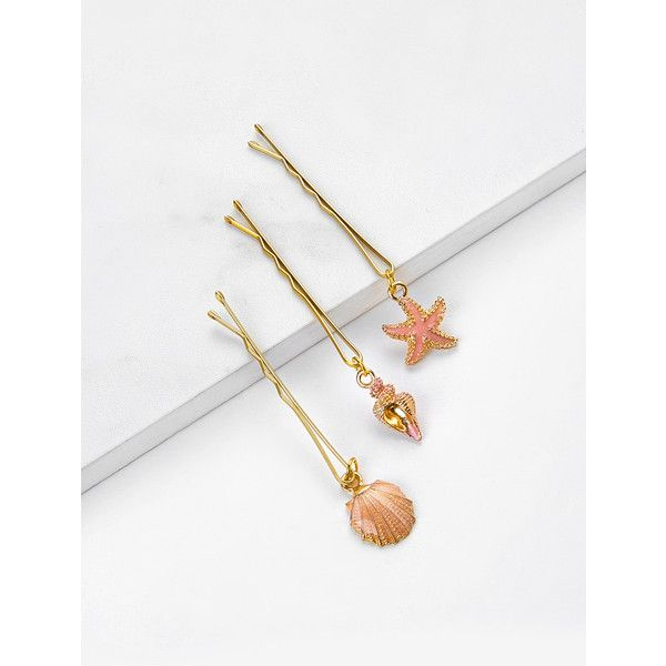 SheIn(sheinside) Shellfish Charm Hair Clip 3pcs ($4) ❤ liked on Polyvore featuring accessories, hair accessories, gold, hair clip accessories, gold hair accessories, gold hair clips and barrette hair clip