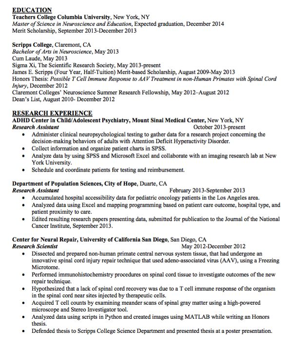 Sample Research Scientist Resume