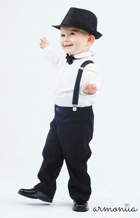 Black Ring Bearer Outfit -- Boys Wedding Outfit. Shop more www.armoniia.etsy.com