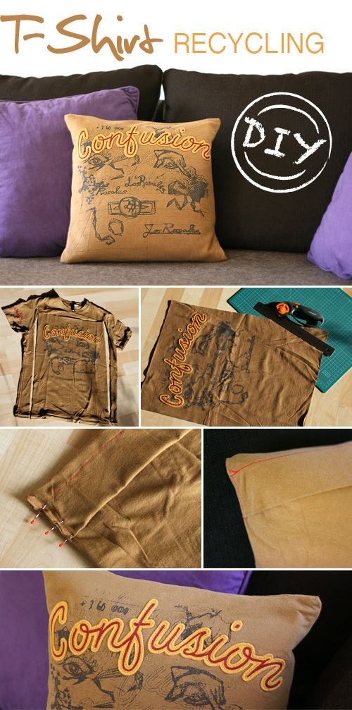 DIY, shirt, pillow, recycling, sewing, fabric. I have some t-shirts this would work with!