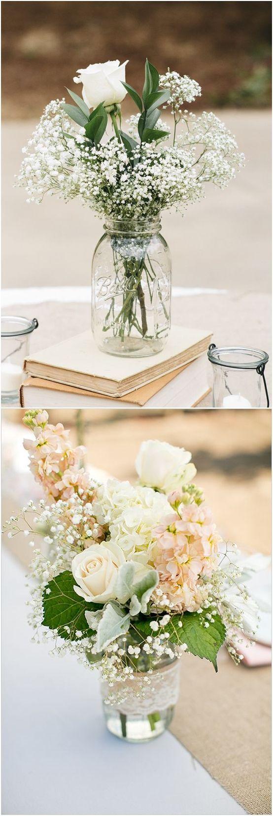 Rustikale Einmachglas Hochzeit Mittelstücke #Hochzeit #Weddingideas #Zentrum / www