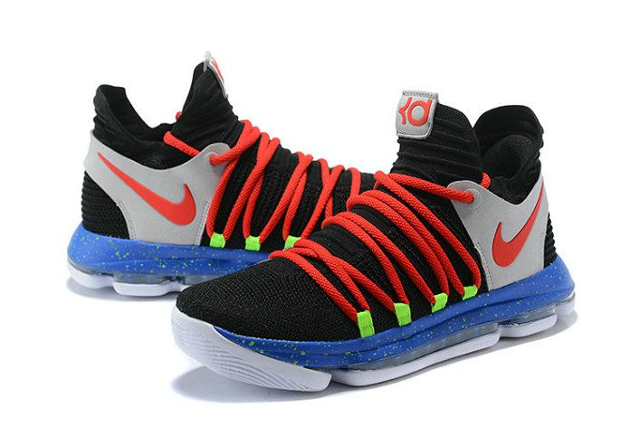 pretty nice 204d9 7661e New Kevin Durant Nike KD 10 Black Red-Cool Grey-Blue Mens Basketball Shoes