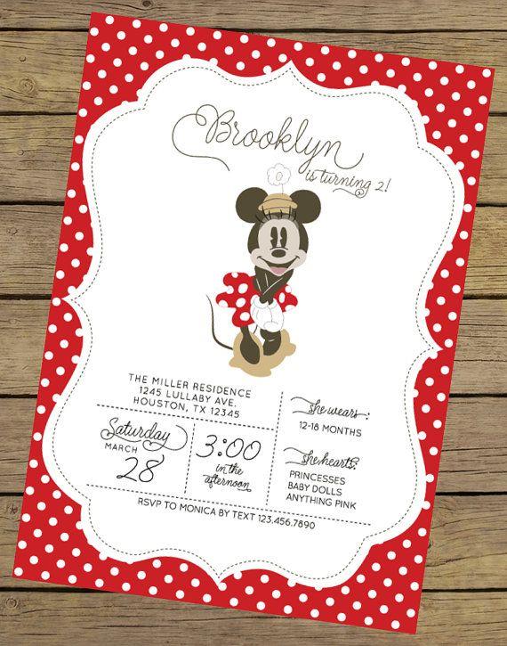 Vintage Minnie Invitation  Minnie Mouse by CharlesAlexDesign