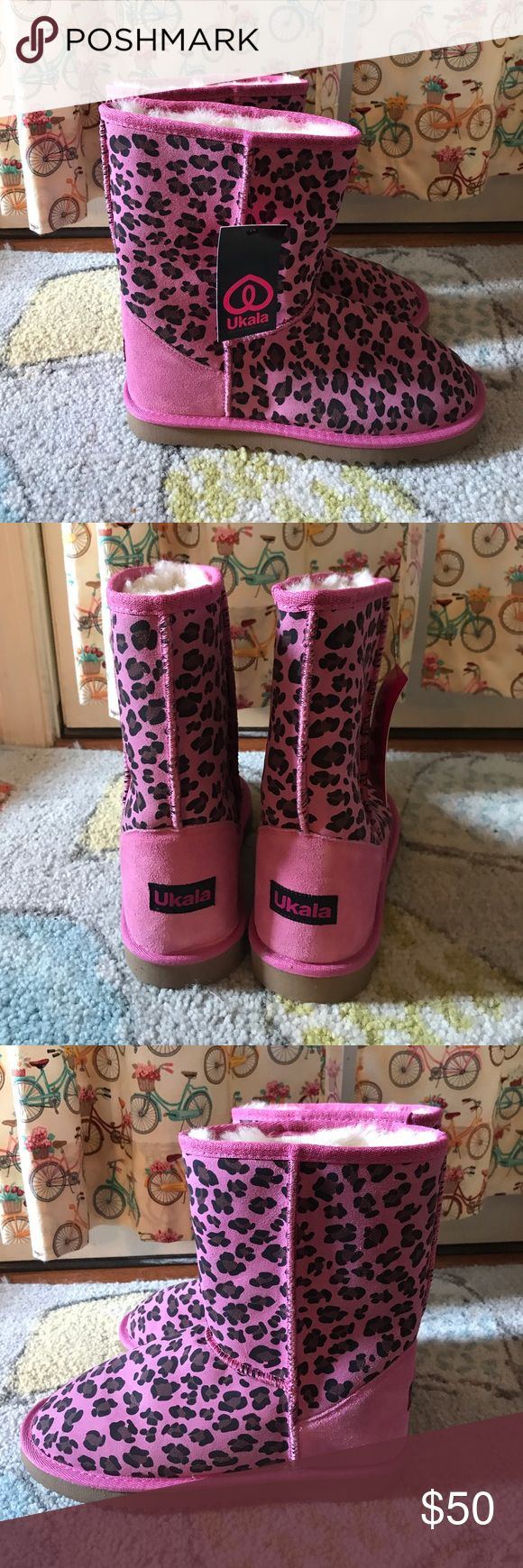 Ukala Australian Leopard Cheetah Boots 39 NWT Beautiful pink cheetah leopard design new boots in size 39 with tag attached. Never worn. Smoke free home. Soft and cozy like UGG boots. Perfect condition Ukala Shoes Winter & Rain Boots